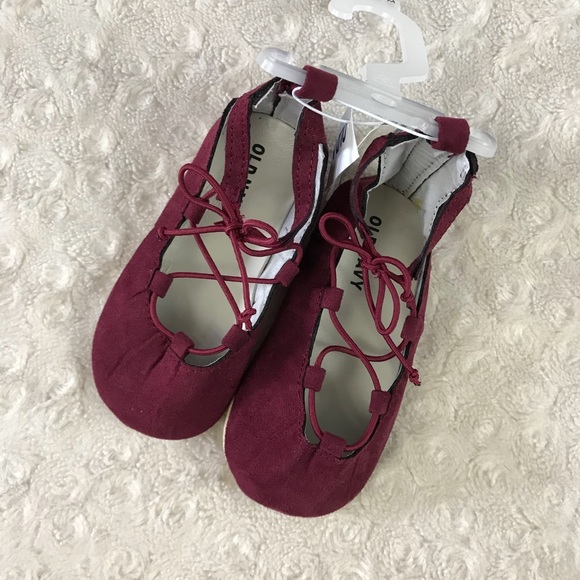 8fc8755e5edd Old Navy Baby Girl Burgundy Flats Shoes Lace Up